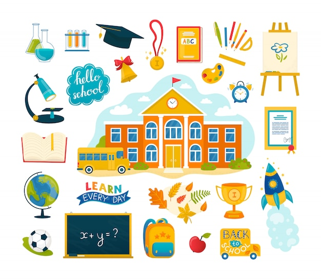 Снова в школу набор иллюстраций с коллекцией образовательных иконок. дом и принадлежности: учебник, тетрадь, ручки и карандаши, краски, канцелярские или учебные принадлежности, мяч, сумка.