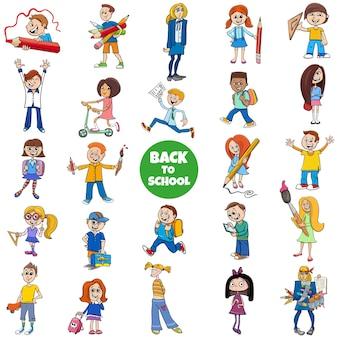 漫画の子供たちのキャラクターで設定された学校に戻る