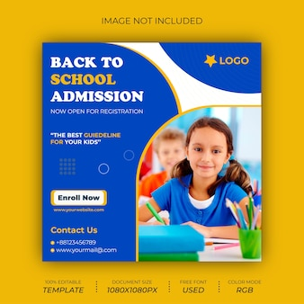 学校に戻るソーシャルメディアポストバナーデザイン