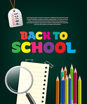Back to school special price flyer with magnifier glass