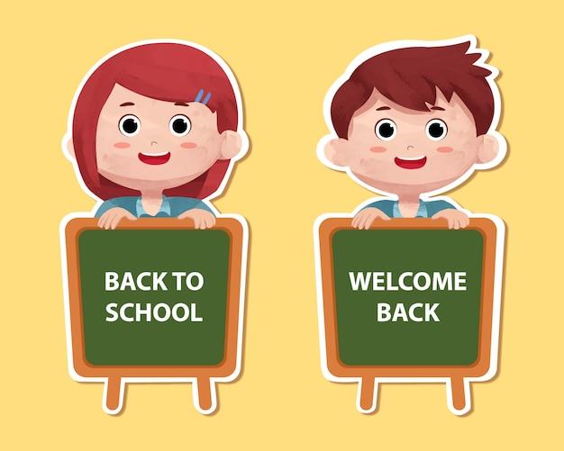 子供のキャラクターと学校に戻るステッカー