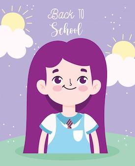 다시 학교로, 학생 소녀 초등 교육 만화 포스터 벡터 일러스트 레이션