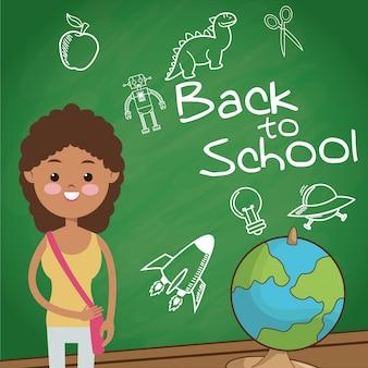 学校に戻る学生の女の子の地球儀スケッチのチョーク