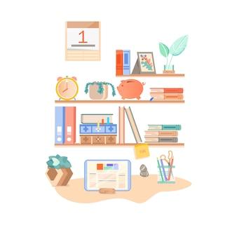 학교로 돌아가다. 학생의 직장. 책 선반. 학용품