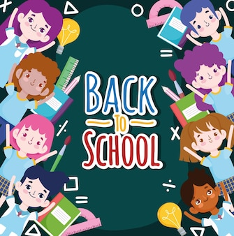 学校に戻る学生の漫画と消耗品の教育イラスト