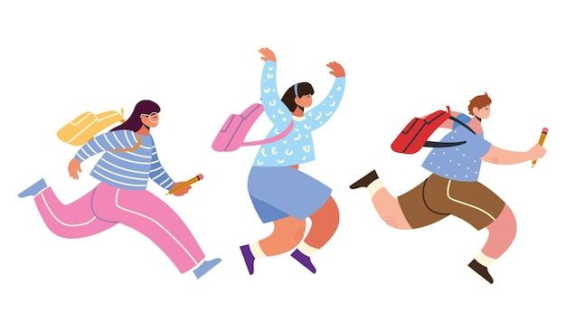 Обратно в школу ученики готовятся счастливые иллюстрации