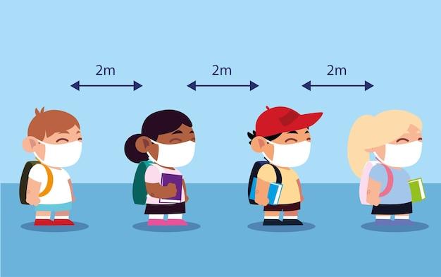 学校に戻って、マスクフェイスシールドを身に着けている学生は距離を保つイラストを維持します