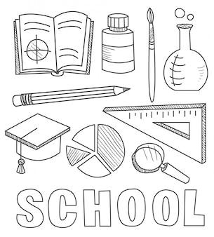 학교 용품 등을 맞댄 레터링, 슈팅 스타, 소용돌이와 스케치 노트 낙서-손으로 그린