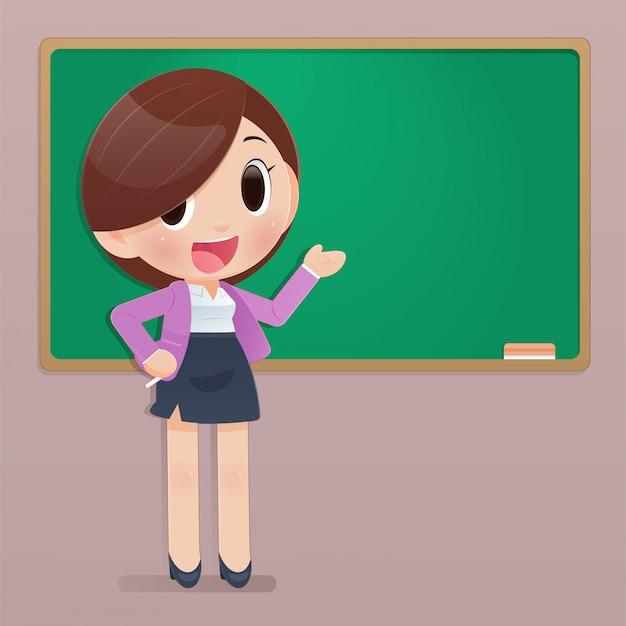 学校に戻って、あなたのテキストのコピースペース、漫画やベクターデザインのコンセプトとボードの前に先生のイラスト