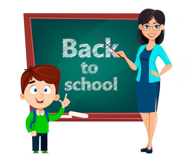 学校に戻る。先生の女性の漫画のキャラクター Premiumベクター
