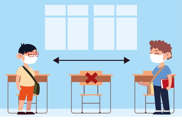 学校に戻ると、教室の10代の生徒は物理的な距離のイラストを保持します