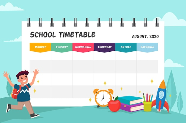 時刻表の学校に戻るテンプレート