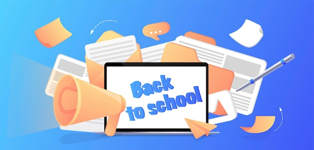 学校に戻る学校の初日勉強の授業の始まりドキュメント付きのコンピューター
