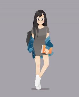 Снова в школу, иллюстрация улыбающихся студенток, подростки держат книги, чтобы пойти в школу.