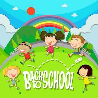 공원에서 아이들과 함께 학교 테마로 돌아 가기