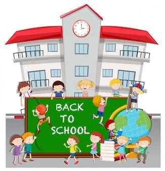학교에서 학생들과 함께 학교 테마로 돌아 가기