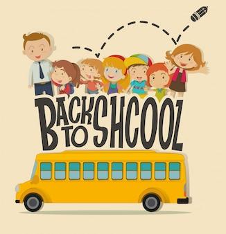 교사와 학생과 함께 학교 테마로 돌아 가기
