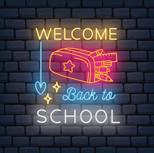 학교 테마 네온 사인으로 돌아 가기