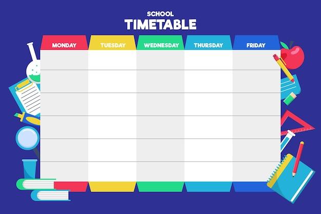 학교 시간표 평면 디자인으로 돌아 가기