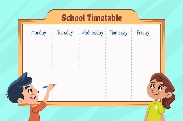 Вернуться к школьному расписанию плоский дизайн
