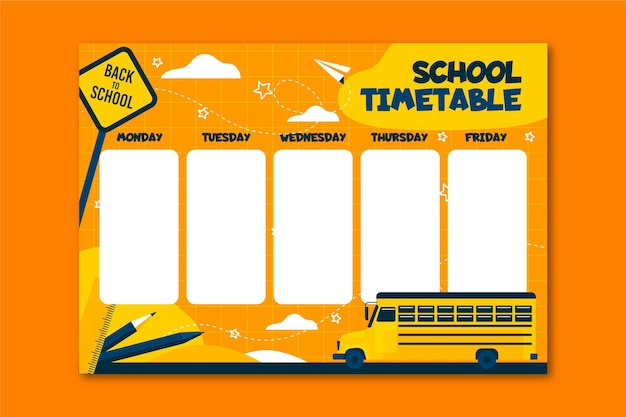 学校の時間割フラットデザインに戻る