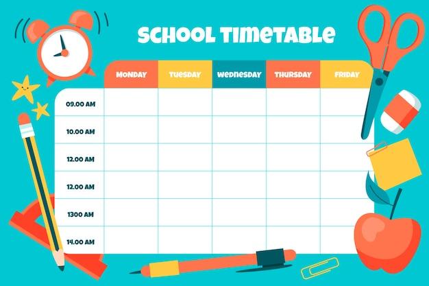 학교 시간표 템플릿으로 돌아 가기
