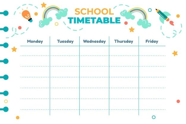 학교 시간표 템플릿으로 돌아가기 무료 벡터