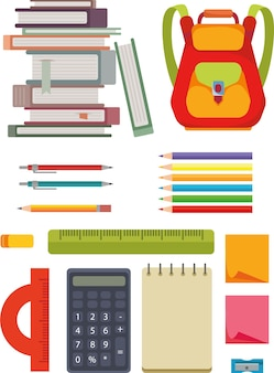 学校のツールセットに戻る、ベクトルフラットスタイル。バックパック、鉛筆、フェルトペン、ノート、学習用品。クリップアートアイコン