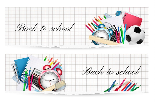 Снова в школу. два баннера со школьными принадлежностями. вектор