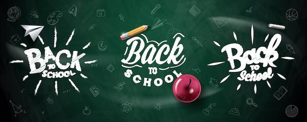 Снова в школу типографии. ручной обращается надписи. предпосылка классн классного с красным яблоком, карандашем, самолетом бумаги и мелом.