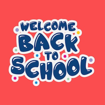 Back to school typography with red background