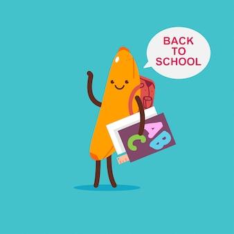 Снова в школу вектор мультфильм иллюстрации концепции с милый банановый персонаж с книгой изолированы.