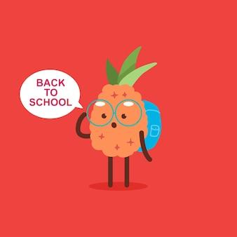 背景に分離されたかわいいパイナップルのキャラクターと学校に戻るベクトル漫画の概念図。