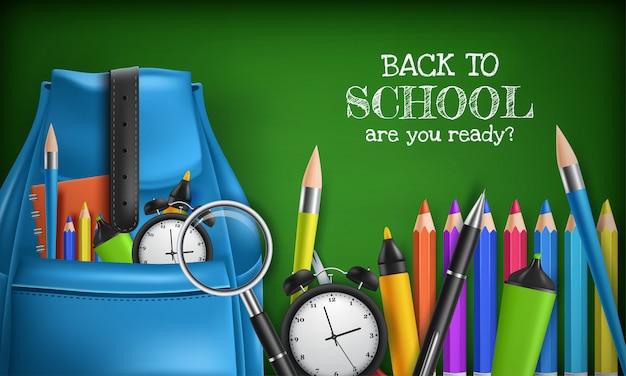 学校のベクターデザインに戻る、色鉛筆、ペン、定規のある学校アイテム