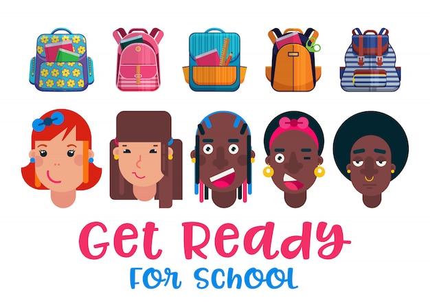 학교 벡터 일러스트 레이 션으로 돌아 가기 화려한 배낭 학교 준비가 어린이 머리. 새로운 학교 배낭과 배낭 광고 포스터. 아이들은 학교에 갈 준비를합니다.