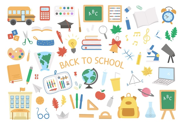 Обратно в школу векторный набор элементов большой образовательный клипарт коллекция классных предметов