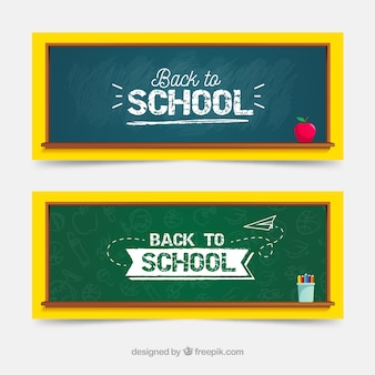 Back to school web banner collection with blackboard