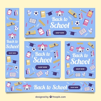 Back to school web banner collection with flat design