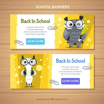 Back to school web banner collection with funny owls