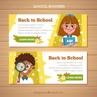 Back to school web banner collection with kids