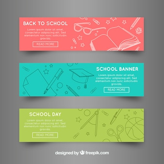 Back to school web banners in three colors