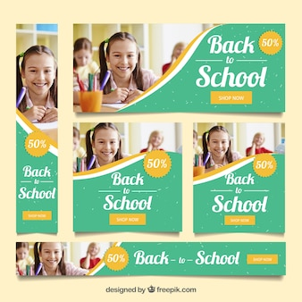 Back to school web banners with image