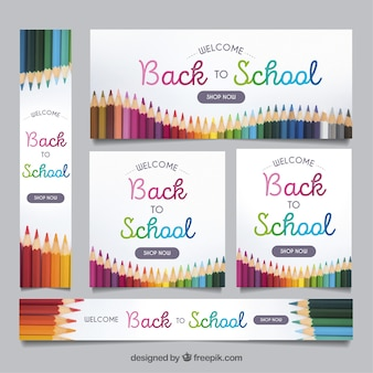 Back to school web banners with pencils
