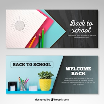 Back to school web banners with space for foto