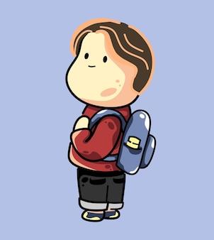 幸せそうな顔で立っている学校に戻る白い肌の学生の男の子