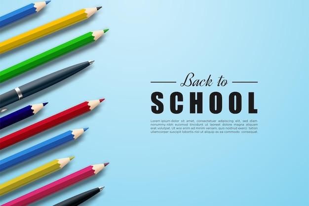 3dカラフルな鉛筆で学校に戻る