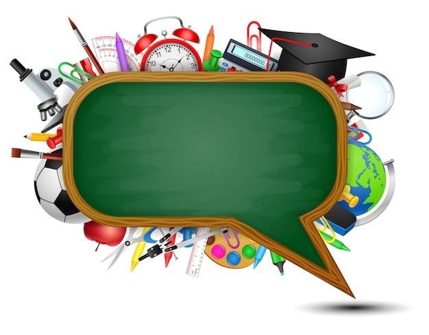 スピーチバブルのような形をした黒板で学校に戻ります。