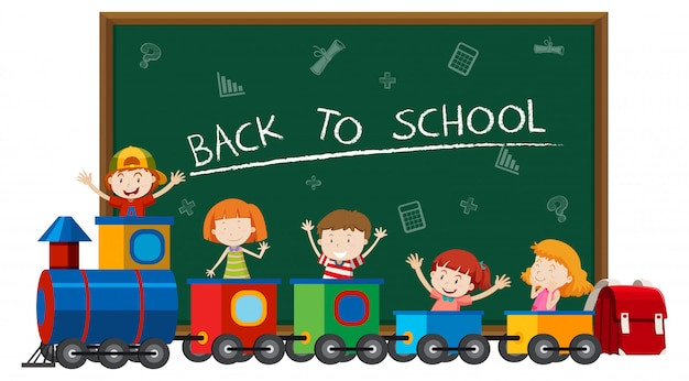 기차에서 아이들과 함께 학교로 돌아 가기