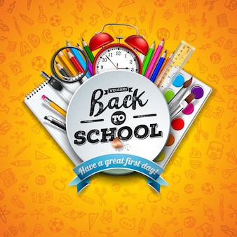 Обратно в школу с цветным карандашом, ножницами, линейкой и типографским письмом