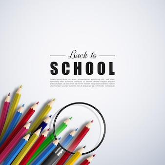 たくさんの鉛筆を持って学校に戻る